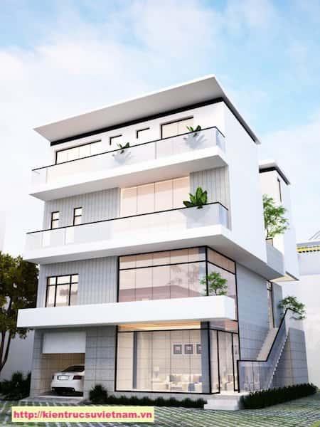 biet thu hien dai 3 tang NHA MS TUYET 2 - Thiết kế biệt thự hiện đại 4 tầng gia đình chị Tuyết quận 2, TPHCM
