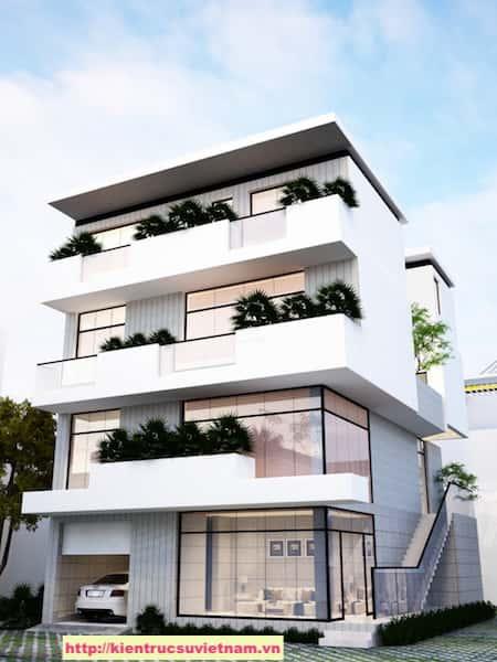 biet thu hien dai 3 tang NHA MS TUYET 5 - Thiết kế biệt thự hiện đại 4 tầng gia đình chị Tuyết quận 2, TPHCM