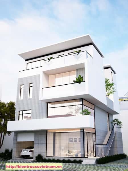biet thu hien dai 3 tang PC1 - Thiết kế biệt thự hiện đại 4 tầng gia đình chị Tuyết quận 2, TPHCM
