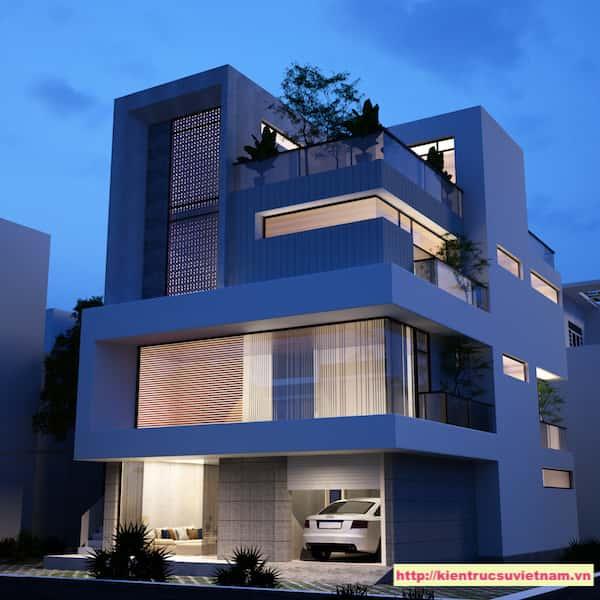 biet thu hien dai 3 tang ms tuyet - Biệt thự 3 tầng với kiến trúc hiện đại có nhiều cây xanh