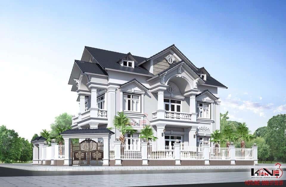 biet thu tan co dien dep - Công trình biệt thự 2 tầng tân cổ điển đẹp với kinh phí 1.7 tỷ