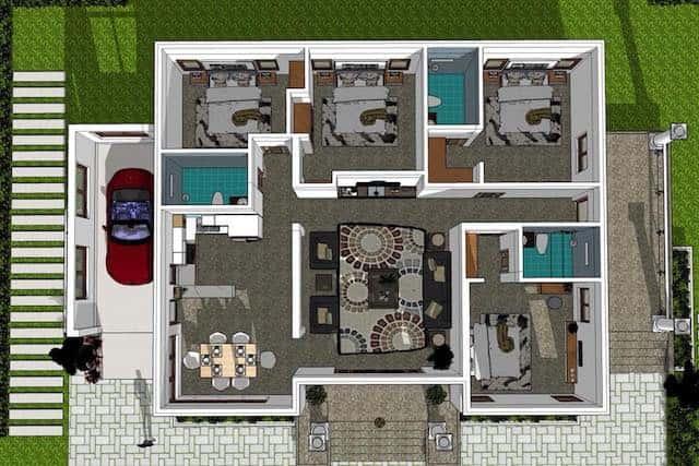 mat bang biet thu 1 tang mai thai - Công trình biệt thự 1 tầng sân vườn đẹp kiến trúc mái thái
