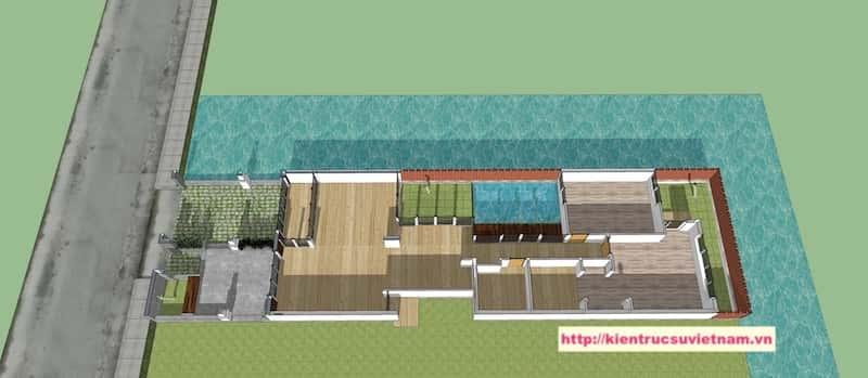 mat bang biet thu 1 tang - Thiết kế biệt thự 1 tầng 3 phòng ngủ đẹp gia đình chị Tuyết Bến Tre