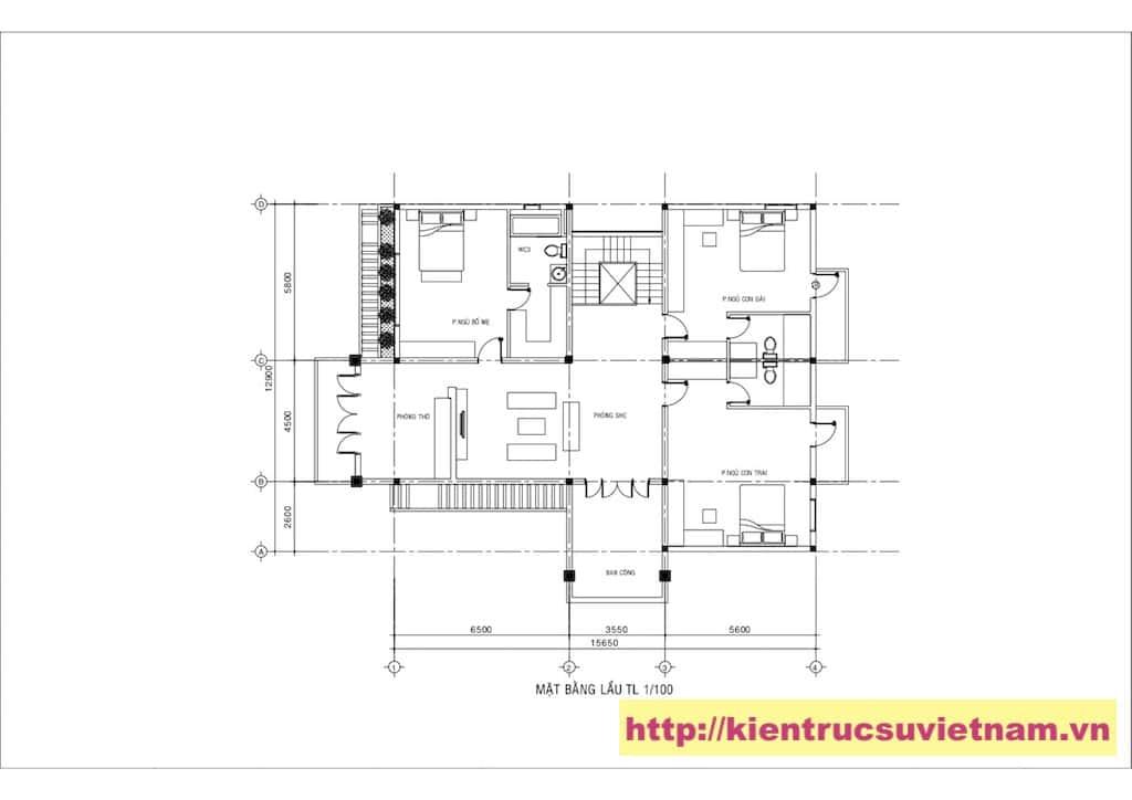 mat bang biet thu 2 - Công trình biệt thự 2 tầng gia đình chú Quyền ở Bình Dương