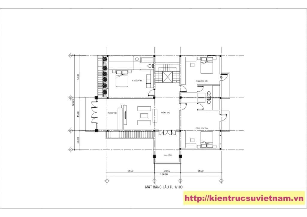 mat bang biet thu 3 - Công trình biệt thự 2 tầng gia đình chú Quyền ở Bình Dương