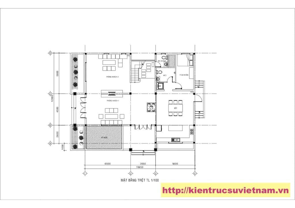 mat bang biet thu - Công trình biệt thự 2 tầng gia đình chú Quyền ở Bình Dương