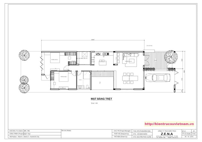mat bang tang tret - Thiết kế biệt thự 1 tầng 3 phòng ngủ đẹp gia đình chị Tuyết Bến Tre