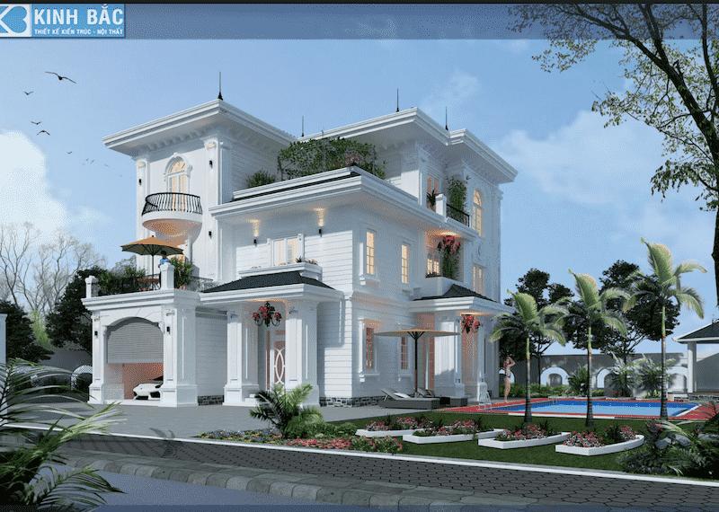 mau biet thu tan co dien dep - Công trình biệt thự 2 tầng tân cổ điển đẹp với kinh phí 1.7 tỷ