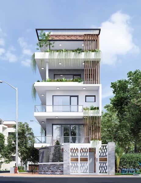 nha pho 5 tang dep 1 - Thiết kế nhà 4 tầng đẹp