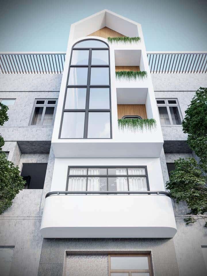 nha pho 5 tang hien dai - Kiến trúc nhà 5 tầng hiện đại với mặt tiền ấn tượng