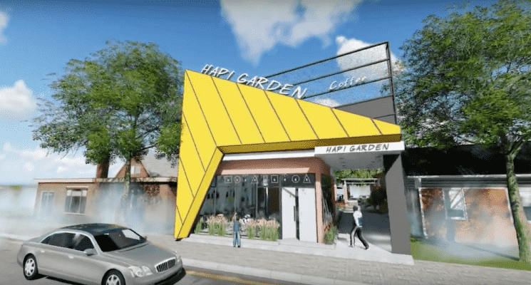 thiet ke quan cafe hapi garden gia lai 745x400 - Thiết kế kiến trúc phong cách Quán cafe đẹp mới lạ tại Pleiku - Gia Lai