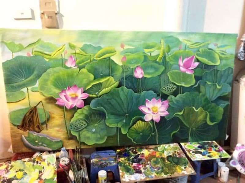 tranh tuong 2 - Vẽ tranh tường phòng khách đẹp