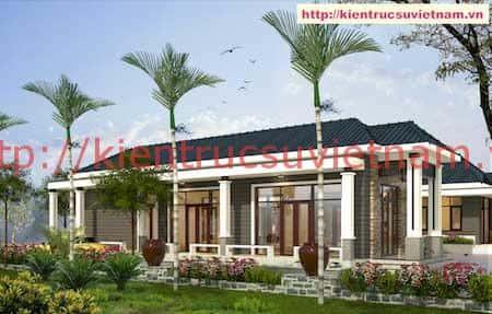 biet thu 1 tang dep 10 - Công trình biệt thự 1 tầng mái thái diện tích 250m2 với 6 phòng ngủ