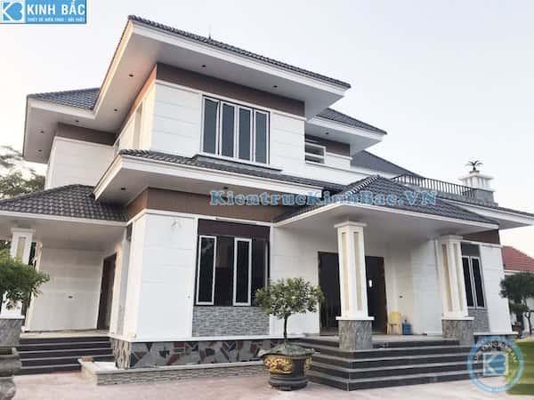 biet thu 2 tang dep hien dai - Công trình biệt thự 2 tầng kiến trúc mái thái đẹp với kinh phí ~ 1.8 tỷ