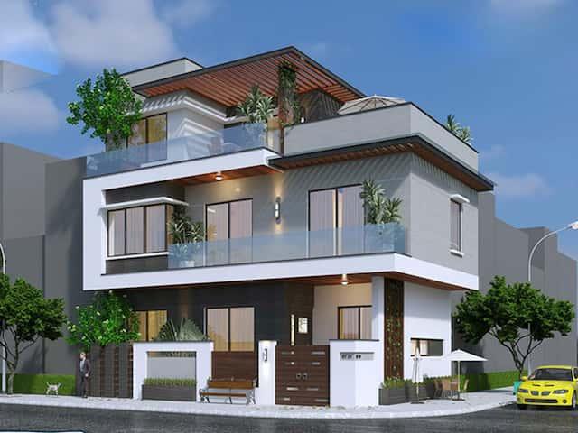 biet thu 2 tang dep - Biệt thự 2 tầng góc phố kiến trúc hiện đại diện tích 80m2  với 4 phòng ngủ