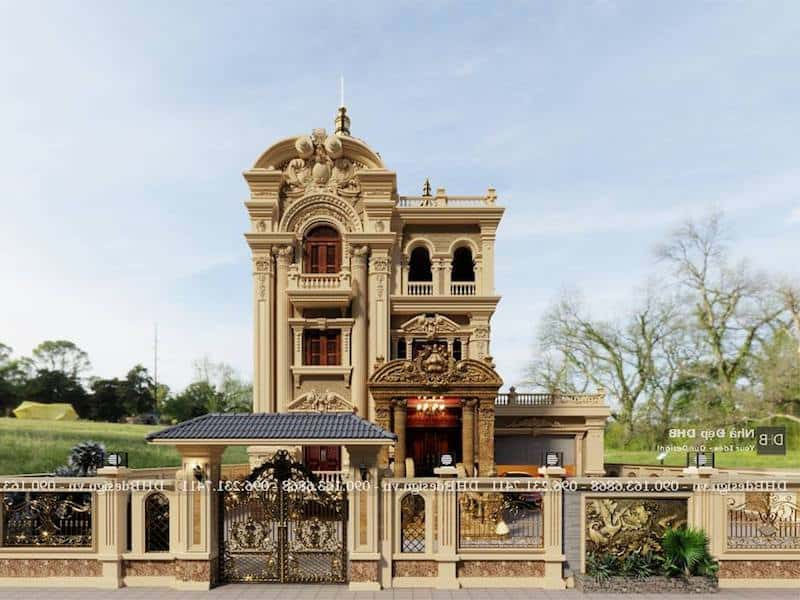 biet thu lau dai co dien 2 - Công trình biệt thự lâu đài cổ điển 3 tầng sang trọng đẳng cấp