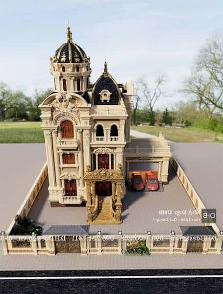 biet thu lau dai co dien 3 - Công trình biệt thự lâu đài cổ điển 3 tầng sang trọng đẳng cấp