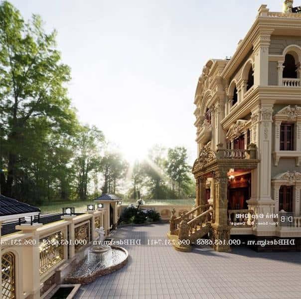 biet thu lau dai co dien 5 - Công trình biệt thự lâu đài cổ điển 3 tầng sang trọng đẳng cấp