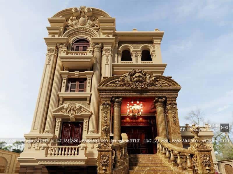 biet thu lau dai co dien 6 - Công trình biệt thự lâu đài cổ điển 3 tầng sang trọng đẳng cấp