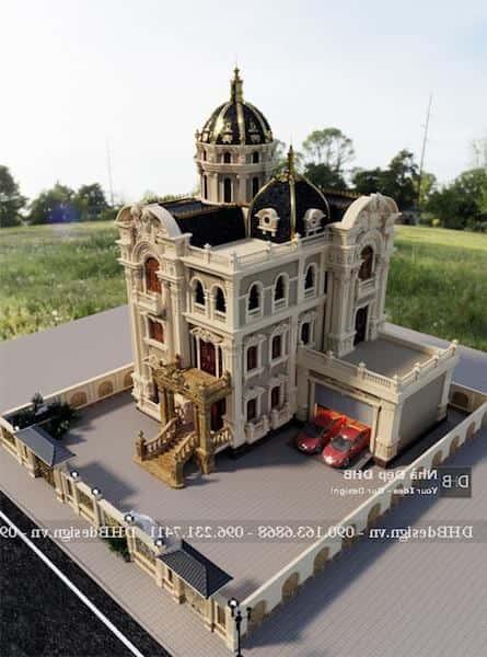 biet thu lau dai co dien - Công trình biệt thự lâu đài cổ điển 3 tầng sang trọng đẳng cấp