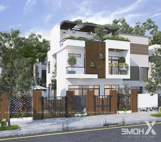 biet thu pho 2.5 tang dep - Công trình biệt thự phố 2.5 tầng với kinh phí hoàn thiện 1.6 tỷ