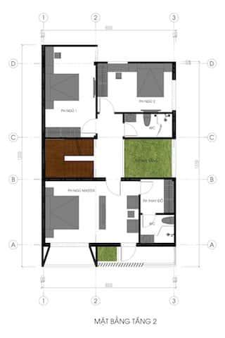 biet thu pho 2.5 tang mat bang tang 2 - Công trình biệt thự phố 2.5 tầng với kinh phí hoàn thiện 1.6 tỷ