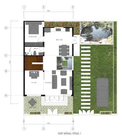 biet thu pho 2.5 tang mat bang - Công trình biệt thự phố 2.5 tầng với kinh phí hoàn thiện 1.6 tỷ