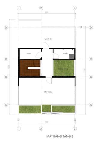 biet thu pho 2.5 tang mb tang 3 - Công trình biệt thự phố 2.5 tầng với kinh phí hoàn thiện 1.6 tỷ
