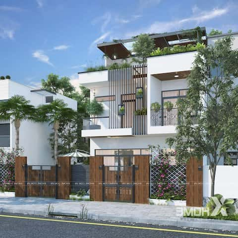 biet thu pho 2.5 tang - Công trình biệt thự phố 2.5 tầng với kinh phí hoàn thiện 1.6 tỷ