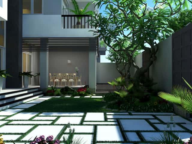 biet thu pho 3 tang 1 - Công trình biệt thự phố 3 tầng kiến trúc hiện đại 600m2