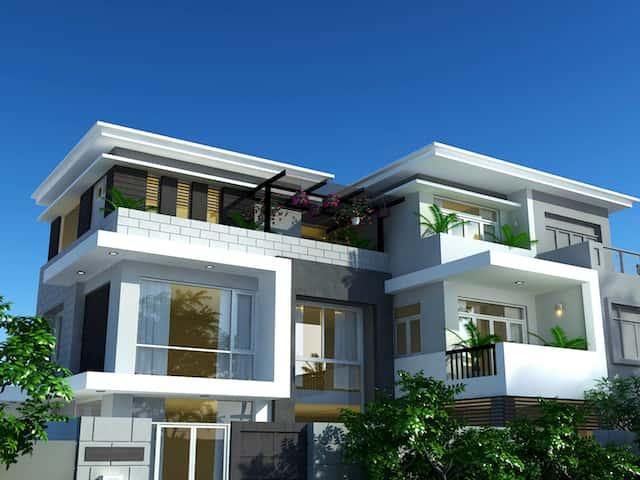 biet thu pho 3 tang dep - Công trình biệt thự phố 3 tầng kiến trúc hiện đại 600m2