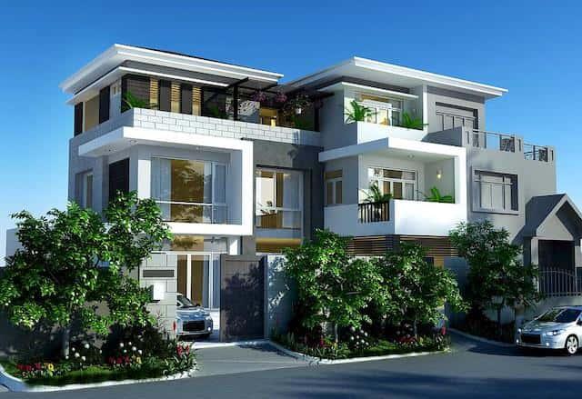 biet thu pho 3 tang - Công trình biệt thự phố 3 tầng kiến trúc hiện đại 600m2