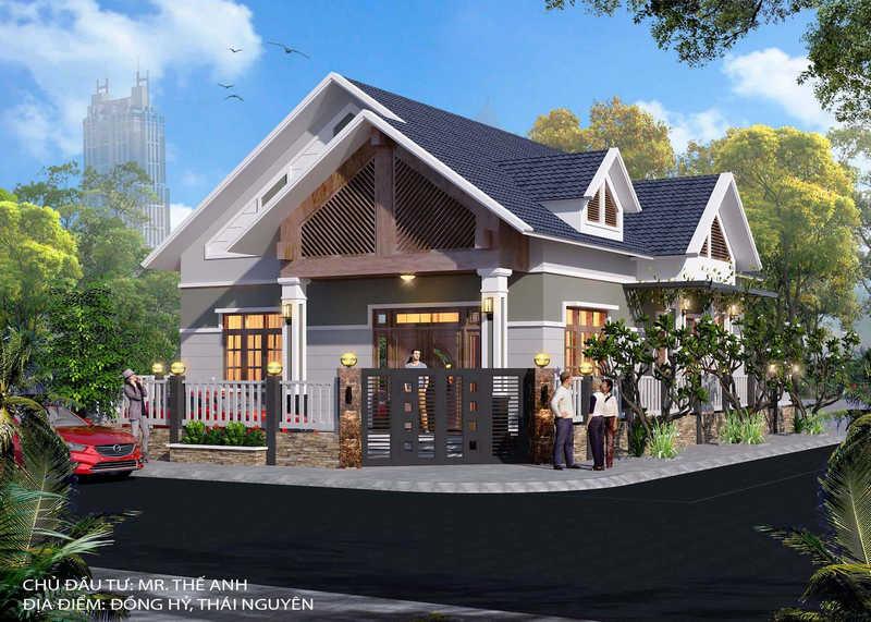 biet thu 1 tang dep - Tư vấn thiết kế biệt thự nhà vườn 1 tầng 4 phòng ngủ đẹp kinh phí dự trù 1.2 tỷ