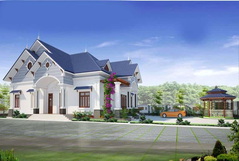 biet thu 1 tang mai thai - Tư vấn thiết kế biệt thự nhà vườn 1 tầng 4 phòng ngủ đẹp kinh phí dự trù 1.2 tỷ