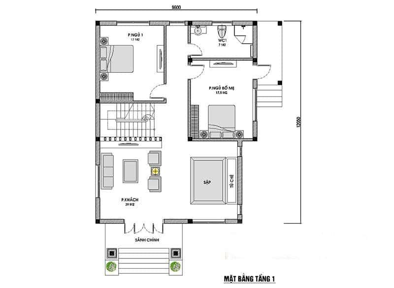 biet thu 2 tang mai thai 1 - Công trình biệt thự mái thái 2 tầng 4 phòng ngủ với kinh phí hoàn thiện 1.5 tỷ