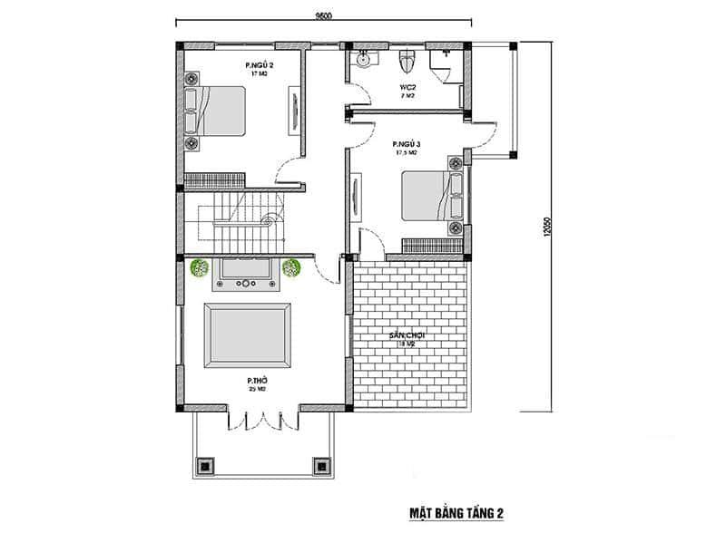 biet thu 2 tang mai thai 2 - Công trình biệt thự mái thái 2 tầng 4 phòng ngủ với kinh phí hoàn thiện 1.5 tỷ