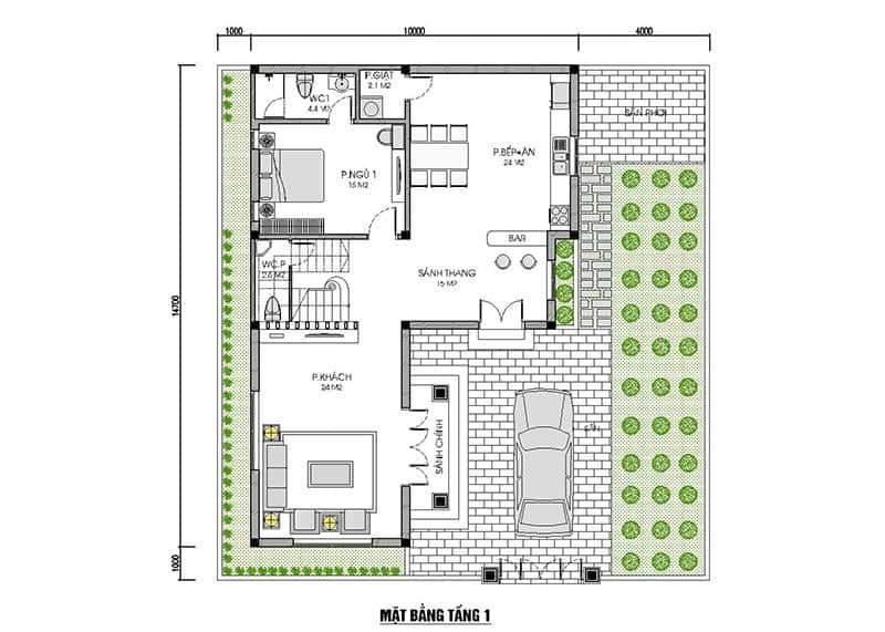 biet thu 2 tang mai thai dep tang 1 - Công trình thiết kế biệt thự 2 tầng mái thái diện tích 150m2 với 4 phòng ngủ