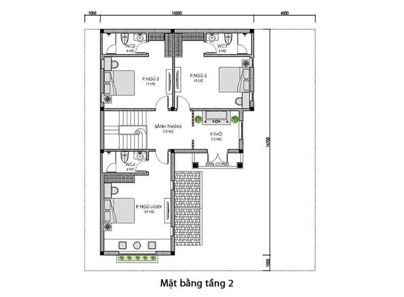biet thu 2 tang mai thai dep tang 2 - Công trình thiết kế biệt thự 2 tầng mái thái diện tích 150m2 với 4 phòng ngủ