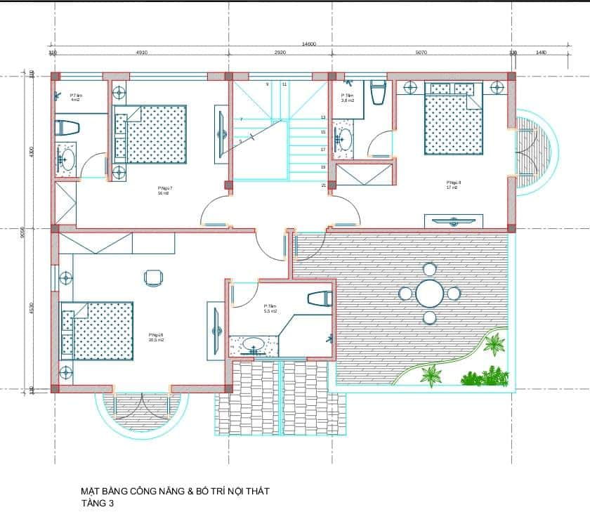 biet thu 3 tang tan co dien 3 - Công trình biệt thự 3 tầng  tân cổ điển kiến trúc mái thái 130m2