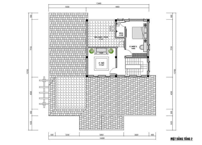 biet thu mai thai 1 tang 1 - Công trình biệt thự 1 tầng mái thái 3 phòng ngủ có tầng lửng đẹp