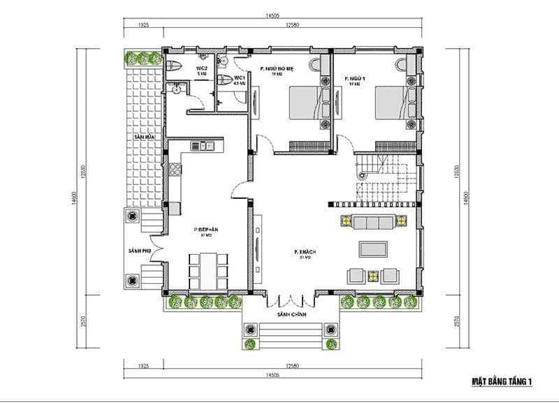 biet thu mai thai 1 tang mat bang - Công trình biệt thự 1 tầng mái thái 3 phòng ngủ có tầng lửng đẹp
