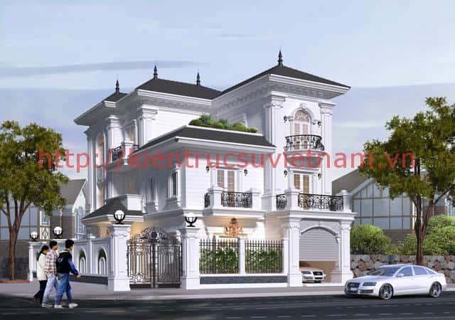 biet thu tan co dien dep - Chiêm ngưỡng mẫu thiết kế biệt thự 3 tầng mái thái tuyệt đẹp