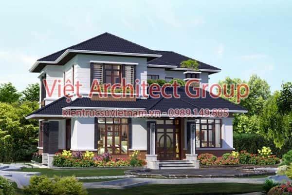 biet thu 2 tang dep viet architect group ms001 600x400 - Ảnh công trình thiết kế biệt thự 2 tầng đẹp