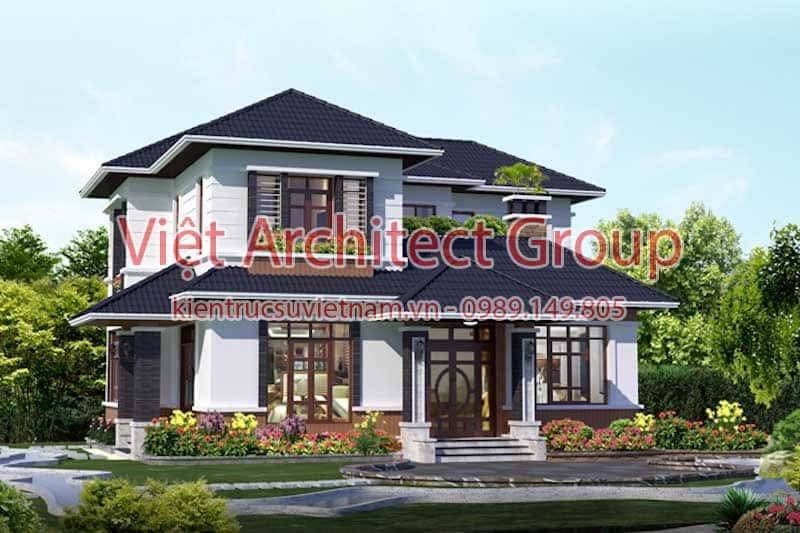 biet thu 2 tang dep viet architect group ms001 - Công trình biệt thự 2 tầng kiến trúc mái thái đẹp