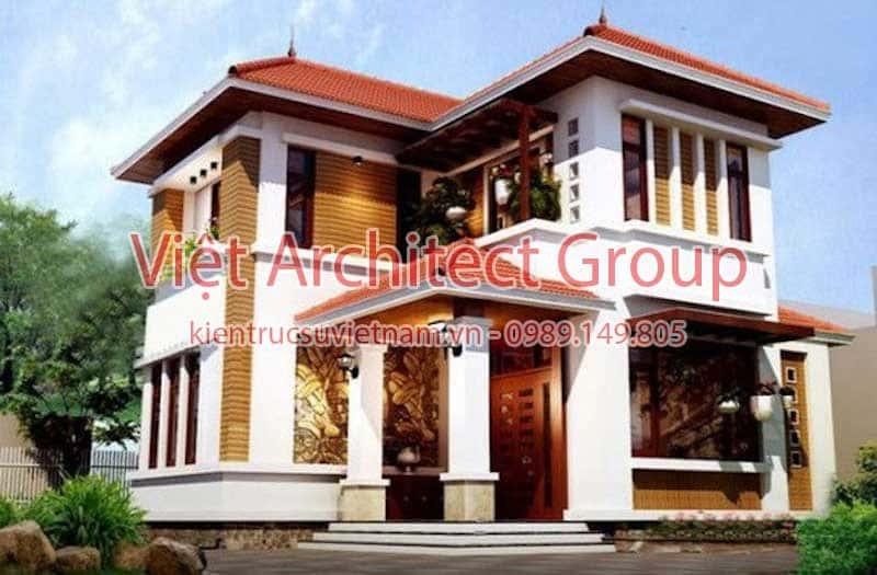 biet thu 2 tang dep viet architect group ms002 - Công trình biệt thự 2 tầng kiến trúc mái thái đẹp