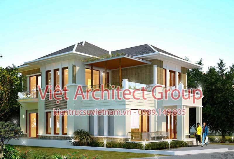 biet thu 2 tang dep viet architect group ms003 - 13 Mẫu thiết kế biệt thự phong cách hiện đại đẹp tham khảo xây 2019