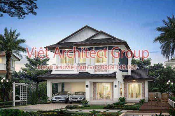 biet thu 2 tang dep viet architect group ms005 600x400 - Ảnh công trình thiết kế biệt thự 2 tầng đẹp
