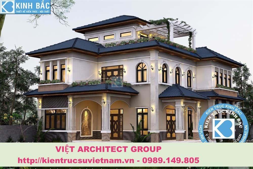 biet thu 3 tang dep viet architect group - Thiết kế biệt thự tân cổ điển đẹp