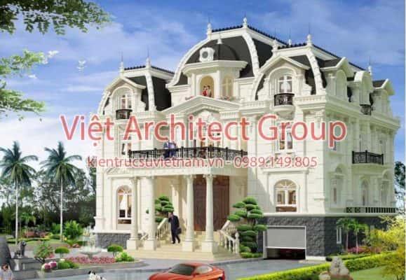 biet thu co dien 579x400 - Ảnh công trình thiết kế biệt thự tân cổ điển đẹp