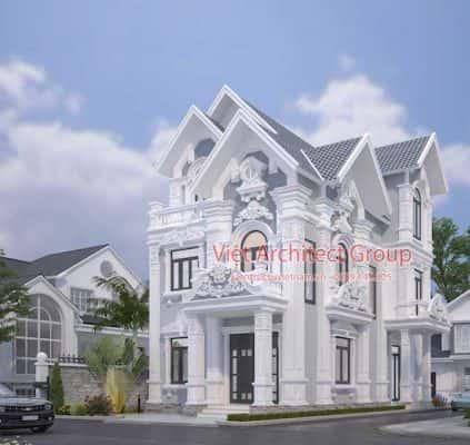 biet thu co dien dep 3 423x400 - Công trình biệt thự kiến trúc tân cổ điển 3 tầng đẹp
